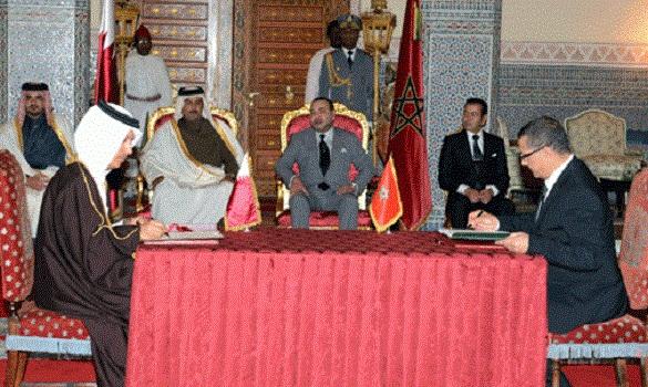 الملك وأمير دولة قطر يترأسان حفل التوقيع على أربع اتفاقيات للتعاون