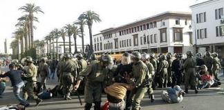استنكار التدخل الأمني ضد الأساتذة المعتصمين في الرباط واعتقال 17 منهم