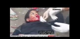 لحظة نطق طفل الشهادة قبل وفاته على يد قوات أمن الإنقلاب في عين شمس 28-2-2014