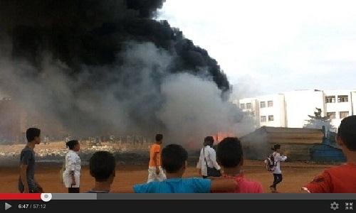 حريق بسلا في مخزن شركة مكلفة بتوسيع الطرق وتمرير أسلاك الكهرباء (فيديو)