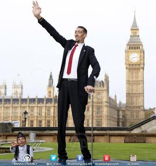 لقاء لأول مرة بين أطول رجل في العالم وأقصر رجل.. تركي ونيبالي