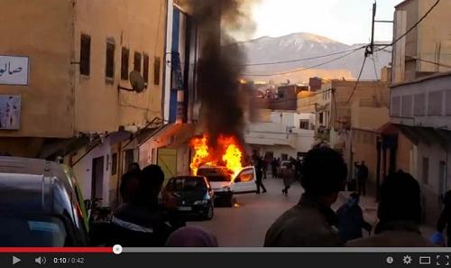 حريق سيارة بمدينة ميدلت