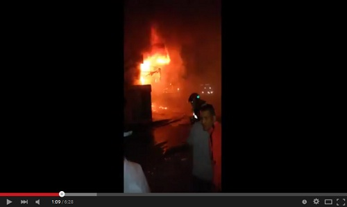 حريق هائل بمحل للبونج بحي الهدى في سيدي مومن