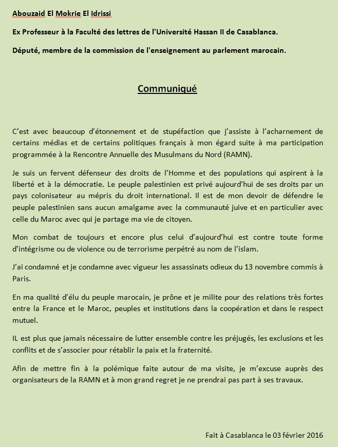 المقرئ أبو زيد لوسائل الإعلام الفرنسية: من واجبي الدفاع عن الشعب الفلسطيني وكفاحي متجه ضد كل أشكال التطرف والإرهاب