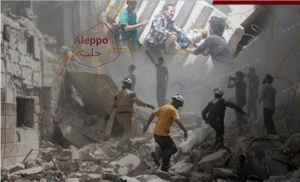 حلب تباد.. تعليق صلاة الجمعة بحلب بسبب جرائم الإبادة الروسية والأسدية