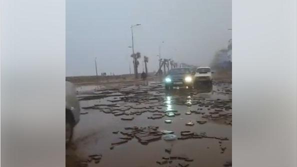فيديو جديد لمخلفات المد البحري الذي عرفه كونيش سيدي موسى بسلا