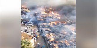 شاهد حريقا مهولا يلتهم سوق بيرشفا بطنجة