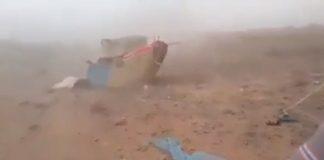 مشهد مأساوي.. الرياح تقتلع خيام السوريين على الحدود المغربية
