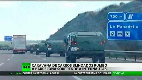 """الجيش الاسباني يقتحم برشلونة بالمدرعات والكتالونيون يطالبون بخروج """"القوات المحتلة"""""""