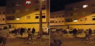 لحظة محاولة انتحار شابة بعدما ألقت بنفسها من الطابق الثالث بحي فريدة بالفقيه بن صالح