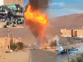 بالفيديو والصور.. انفجارات كبيرة وضخمة لشاحنة مليئة بقنينات الغاز بأفانور إقليم تنغير