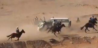 فيديو مؤلم.. دركي جزائري يدخل حلبة السباق ليصدم مجموعة من الأحصنة