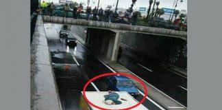 فيديو يظهر السيدة التي انتحرت بمدينة طنجة من فوق قنطرة وسقطت فوق شاحنة أمس الأربعاء