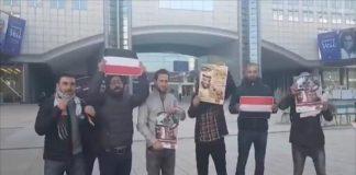 محتجون يعترضون طريق الجبير للبرلمان الأوروبي