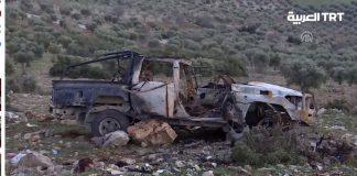 شاهد دبابات الجيش التركي تدمر سيارة مفخخة حاولت تنفيذ هجوم انتحاري ضد قوات الجيش السوري الحر