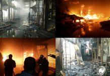 """بالفيديو والصور.. حريق مهول بالسوق اليومي """"الثلاثاء"""" المتواجد بقلب مدينة انزكان - أكادير"""