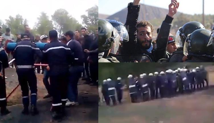 """مواجهات بين قوات الأمن ومتظاهرين في محيط """"ساندريات"""" جرادة"""