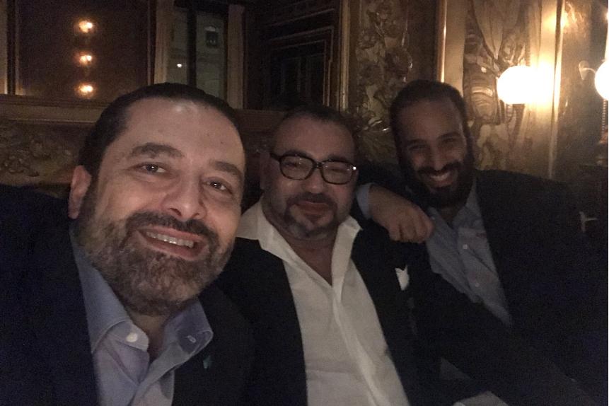 سيلفي يجمع الملك محمد السادس بابن سلمان والحريري بفرنسا