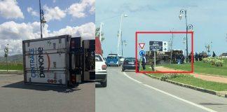 بالصور.. انقلاب شاحنة دانون-سنطرال بمدخل مدينة تطوان جهة مارتيل