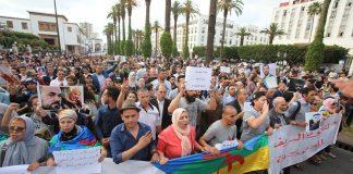 المئات رفقة أفراد من أسر معتقلي الريف يحتجون في الرباط لاستنكار الأحكام القاسية والمطالبة بإطلاق سراحهم
