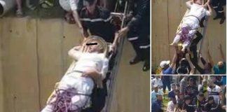 صور إسعاف أحد المصابين في حادثة طنجة أمس الخطيرة.. تثير سخط المغاربة!! (فيديو)