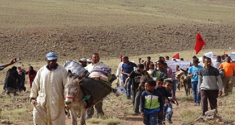 """احتجاج بـ""""الحمير"""" ضد حكم إفراغ ضواحي تنغير"""