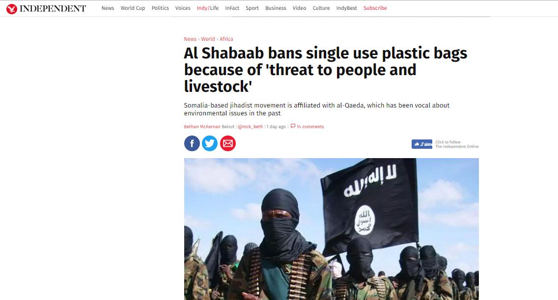 في خطوة مفاجئة.. حركة الشباب الصومالية تمنع استعمال الأكياس البلاستيكية