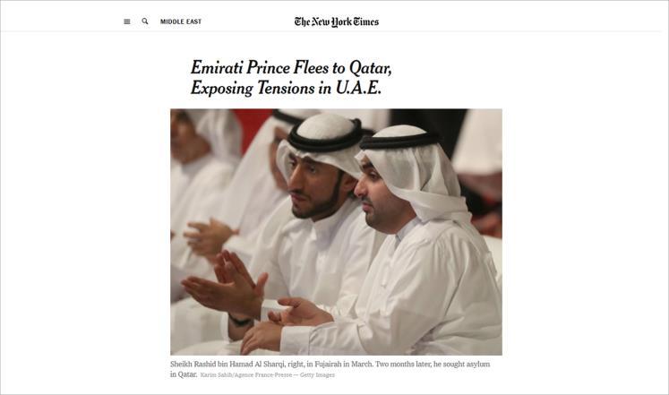 نيويورك تايمز: نجل حاكم إماراتي ينشق ويكشف المستور