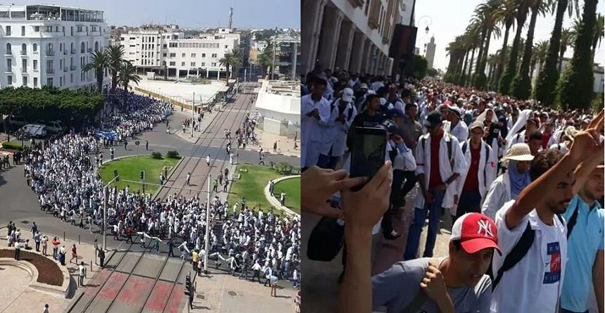 آلاف الأساتذة المتعاقدين يعتصمون بالرباط أمس واليوم للمطالبة بإسقاط نظام التعاقد
