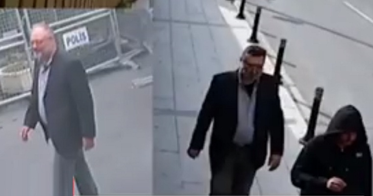 بالفيديو.. مشتبه به يرتدى ملابس خاشقجي ويخرج من الباب الخلفي للقنصلية السعودية