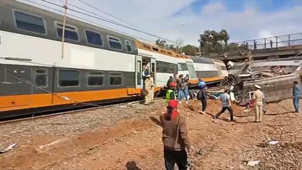 فيديو.. تفاصيل وكرونولوجيا حادث انحراف قطار عن سكته قرب سلا