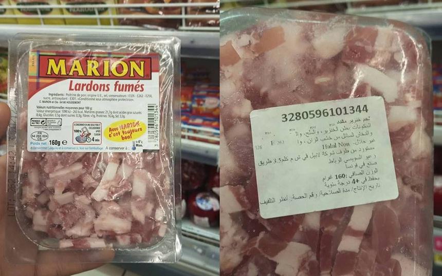 بالصور.. لحم الخنزير يباع بمتجر كارفور بسلا في نفس رفوف اللحوم الحلال!!