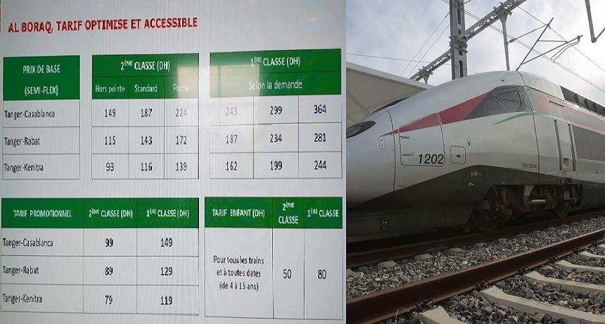 هذه أثمنة تذاكر قطار فائق السرعة (TGV) البراق