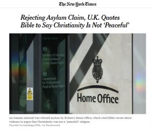 """""""المسيحية ليست دين سلام"""" هكذا ردت بريطانيا على إيراني طلب اللجوء بحجة أن المسيحية دين سلام"""