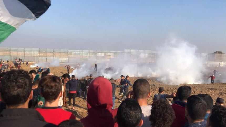 إصابة 60 متظاهرا فلسطينيا شرقي قطاع غزة