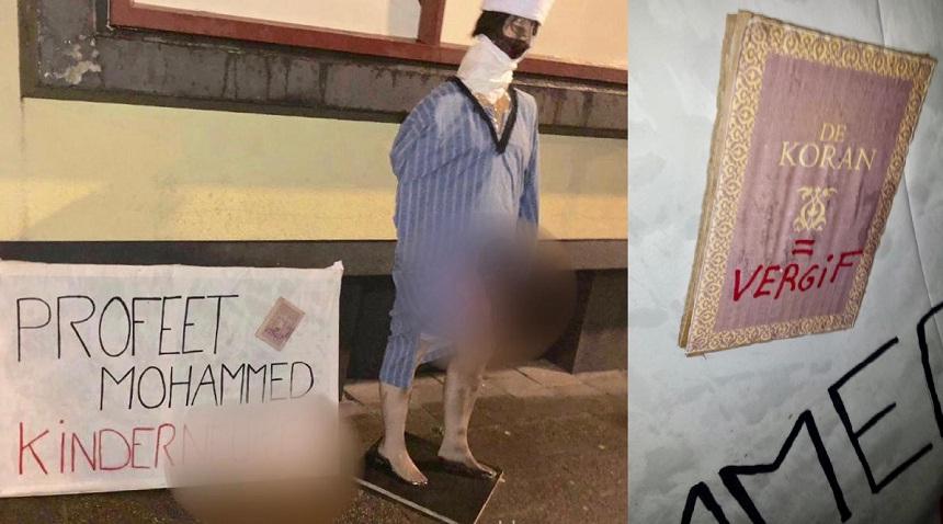"""بالفيديو.. حركة """"بيغيدا"""" العنصرية تعتدي على مسجد بلاهاي وتدنس القرآن وتتطاول مجددا على رسول الله"""
