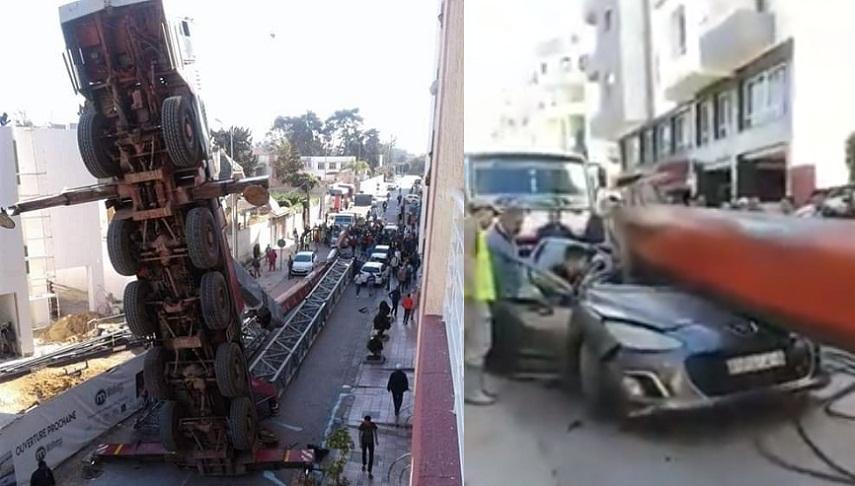 بالفيديو.. سقوط رافعة بناء وسط شارع بالقنيطرة وتحطم سيارة بالكامل