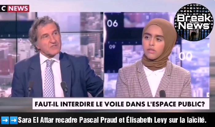 فيديو.. عندما تحاصر علمانية فرنسا الحجاب الشرعي.. فتلقمهم سارة العطار حجرا