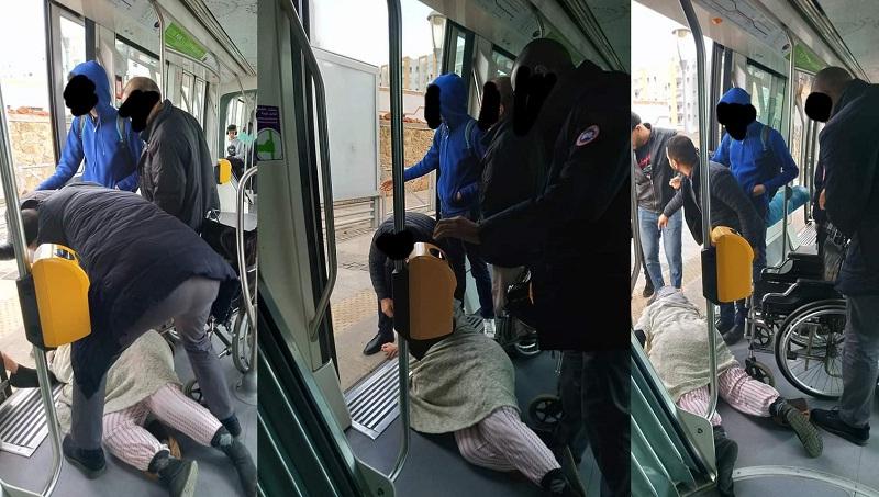 شركة طرامواي تشجب ما قام به أحد مراقبيها بعدما جرجر في الأرض سيدة من ذوي الاحتياجات الخاصة