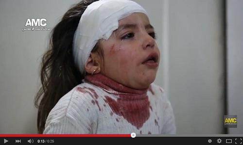 مؤثر: طفلة مصابة بجروح بعد قصف حي الشعار ببرميل متفجر 2015/04/13
