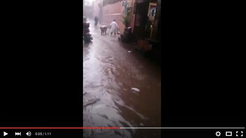 فيضانات خلفتها الأمطار الغزيرة التي شهدتها مدينة مراكش يوم الخميس 06-08-2015