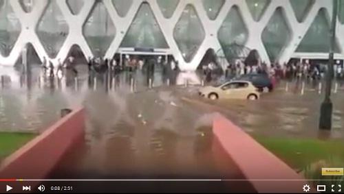 بالفيديو .. فضيحة غرق مطار مراكش الدولي بعد العاصفة الرعدية