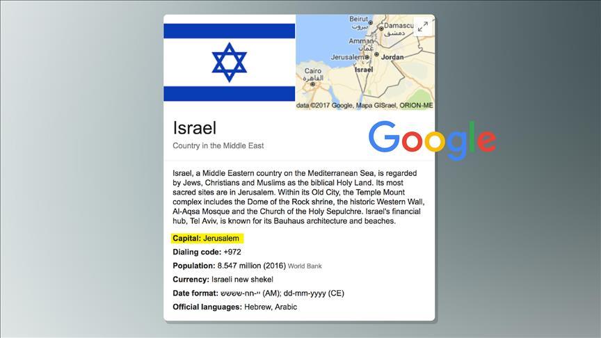 """""""غوغل"""" يغير عاصمة إسرائيل من """"تل أبيب"""" إلى """"القدس"""""""