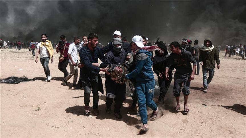إصابة 33 متظاهرا فلسطينيًا برصاص الجيش الصهيوني شرقي غزة
