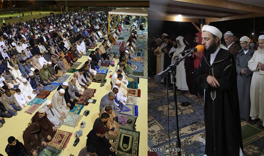 بالصور.. صلاة التراويح بمصلى حي الإنبعاث بمدينة سلا في أول ليلة من ليالي رمضان 1439هـ